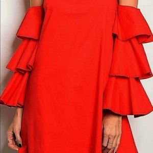 Ruffle sleeve dress NWT